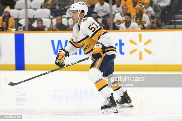 Nashville Predators defenseman Dante Fabbro is shown during the NHL game between the Nashville Predators and Buffalo Sabres held on January 18 at...