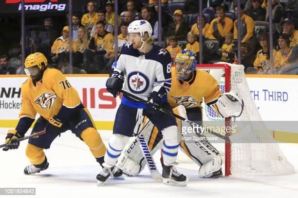 Nashville Predators defenseman PK Subban and Nashville Predators goalie Pekka Rinne defend against Winnipeg Jets left wing Kyle Connor during the NHL...