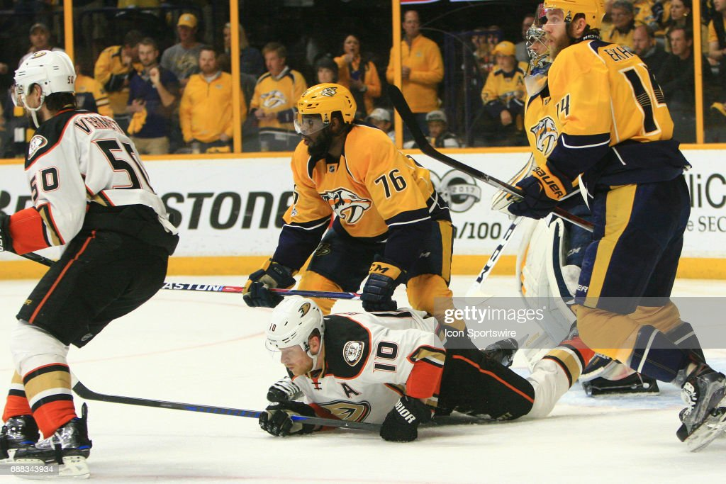 Nashville Predators defenseman P.K. Subban (76) cross checks Anaheim Ducks right wing Corey Perry (10) during Game 6 of the Western Conference Final between the Nashville Predators and the Anaheim Ducks, held on May 22, 2017, at Bridgestone Arena in Nashville, Tennessee. Nashville defeated Anaheim 6-3 to advance to the Stanley Cup Finals.