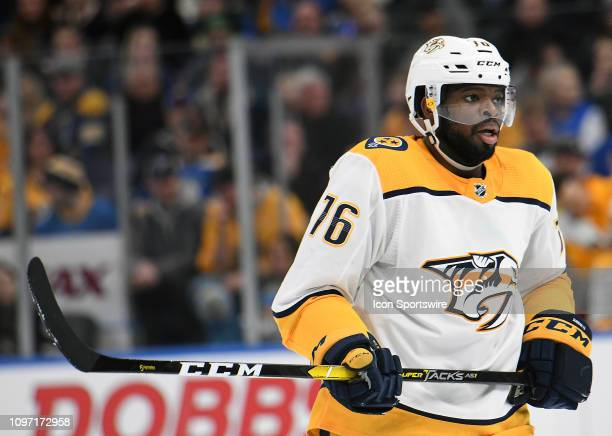 Nashville Predators defenseman PK Subban during an NHL game between the Nashville Predators and the St Louis Blues on February 09 at Enterprise...