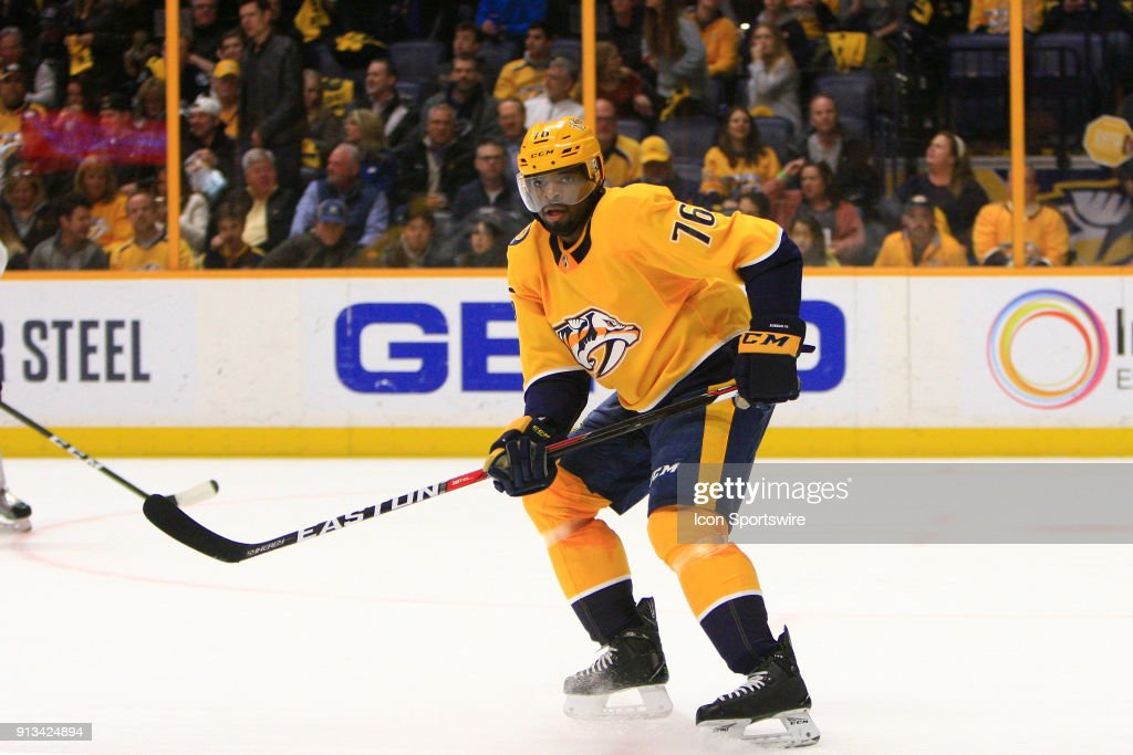 Nashville Predators defenseman P.K. Subban (76) is shown during the NHL game between the Nashville Predators and the Los Angeles Kings, held on February 1, 2018, at Bridgestone Arena in Nashville, Tennessee.