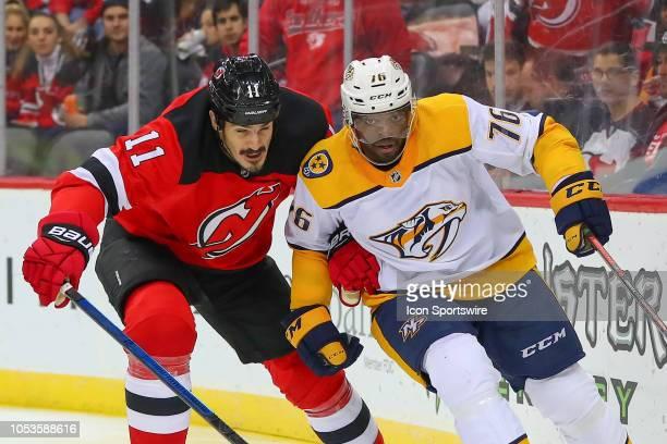 Nashville Predators defenseman P.K. Subban skates during the National Hockey League Game between the New Jersey Devils and the Nashville Predators on...