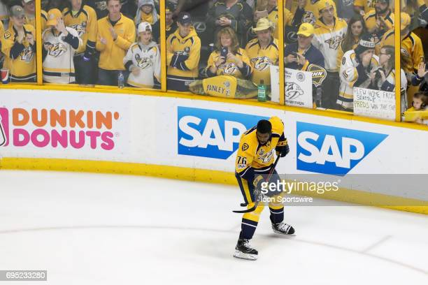 Nashville Predators defenseman PK Subban taps puck during warmups prior to game 6 of the 2017 NHL Stanley Cup Finals between the Pittsburgh Penguins...