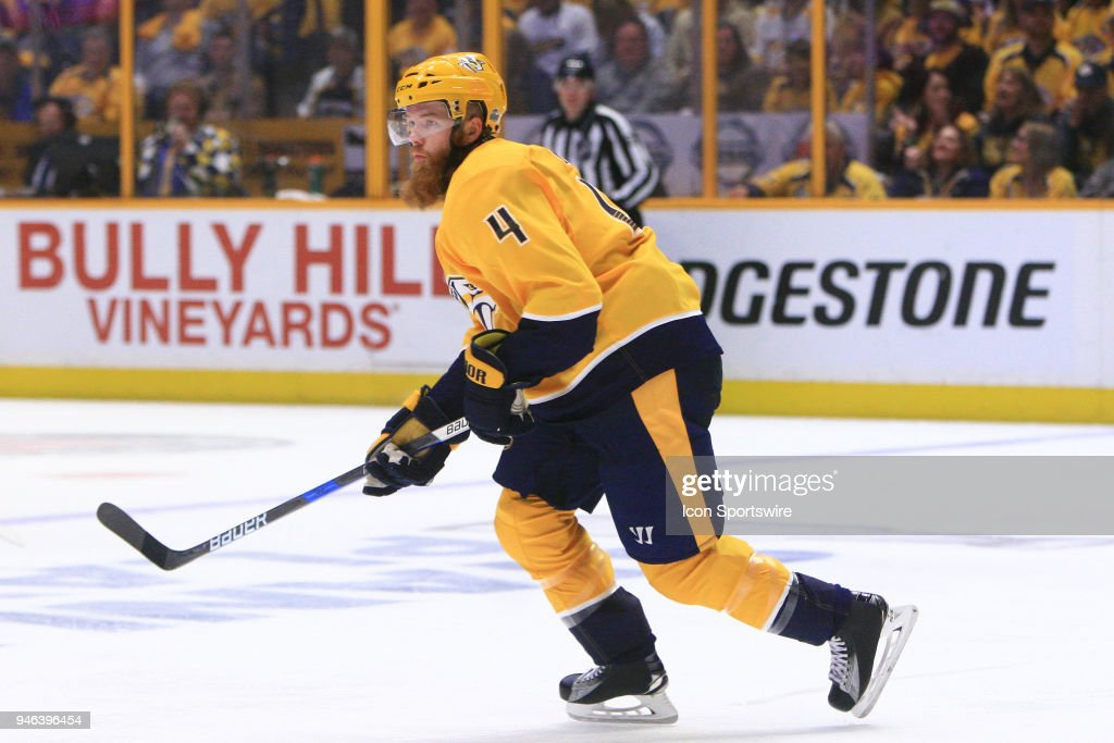 Nashville Predators defenseman Ryan Ellis (4) is shown during Game Two of Round One of the Stanley Cup Playoffs, held on April 14, 2018, at Bridgestone Arena in Nashville, Tennessee.