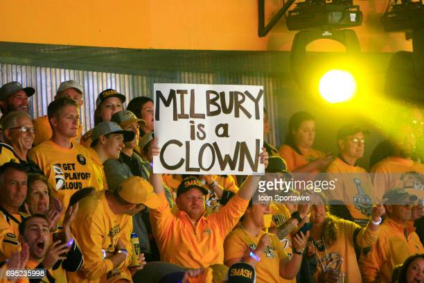 Nashville Predators fan displays a sign referencing TV analyst Mike Milbury during Game 6 of the Stanley Cup Final between the Nashville Predators...