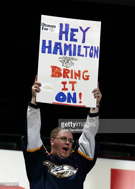 Nashville Predators fan hold up a sign during the first round of the 2007 NHL Entry Draft at Nationwide Arena on June 22 2007 in Columbus Ohio