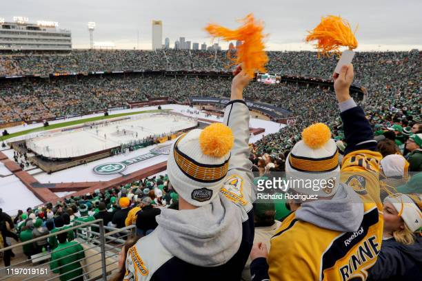 Nashville Predators fans celebrate a goal in the Bridgestone NHL Winter Classic against the Dallas Stars at Cotton Bowl on January 01, 2020 in...