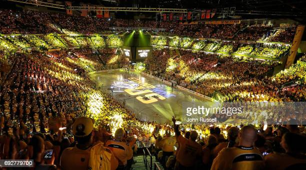 Nashville Predators fans get fired up for Game Four of the 2017 NHL Stanley Cup Final against the Pittsburgh Penguins at Bridgestone Arena on June 5...