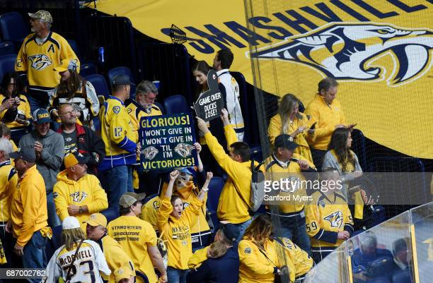 Nashville Predators fans react in Game Six of the Western Conference Final against the Anaheim Ducks during the 2017 Stanley Cup Playoffs at...