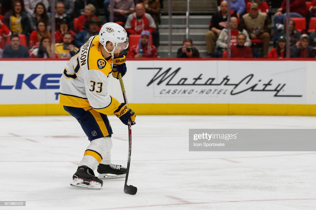 Nashville Predators forward Viktor Arvidsson, of Sweden, (33) shoots the puck for a goal during the third period of a regular season NHL hockey game between the Nashville Predators and the Detroit Red Wings on February 20, 2018, at Little Caesars Arena in Detroit, Michigan. Nashville defeated Detroit 3-2.