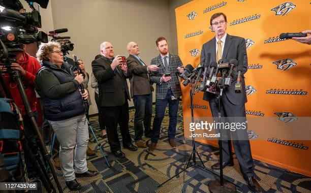 Nashville Predators general manager David Poile answers questions regarding today's trades before the deadline prior to an NHL game against the...