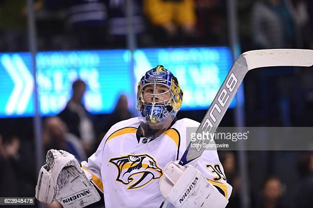 Nashville Predators Goalie Marek Mazanec takes a break during the second period of the NHL regular season game between the Toronto Maple Leafs and...