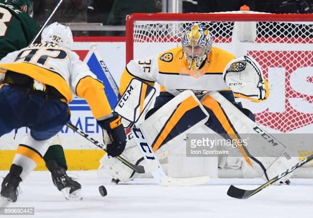 Nashville Predators Goalie Pekka Rinne follows the puck during a NHL game between the Minnesota Wild and Nashville Predators on December 29 2017 at...