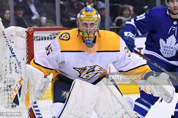 Nashville Predators Goalie Pekka Rinne in action during the regular season NHL game between the Nashville Predators and Toronto Maple Leafs on...