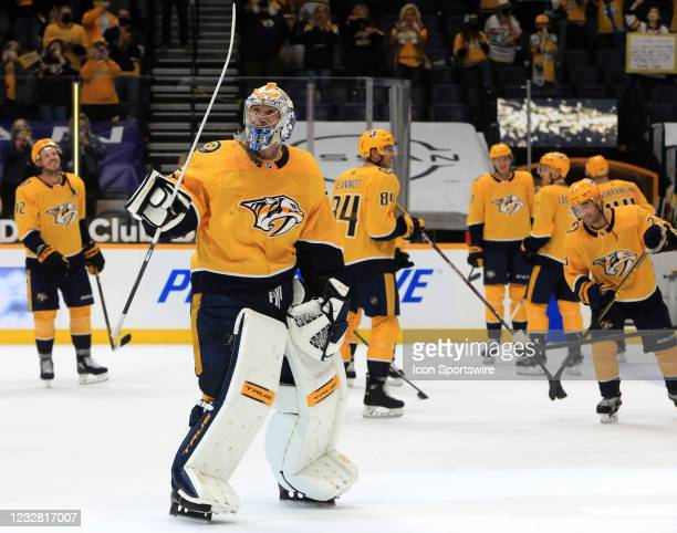 Nashville Predators goalie Pekka Rinne , of Finland, acknowledges the fans at the conclusion of the NHL game between the Nashville Predators and...