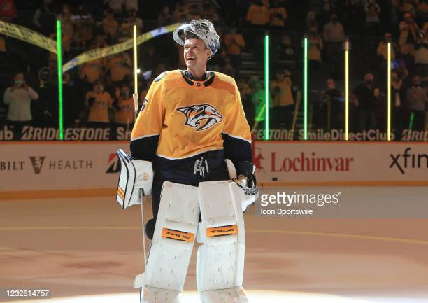Nashville Predators goalie Pekka Rinne , of Finland, is shown at the conclusion of the NHL game between the Nashville Predators and Carolina...