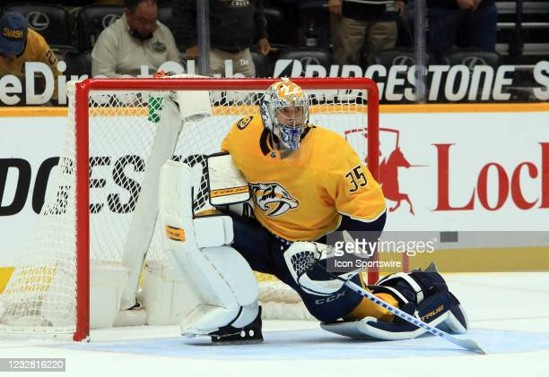 Nashville Predators goalie Pekka Rinne , of Finland, is shown during the third period during the NHL game between the Nashville Predators and...