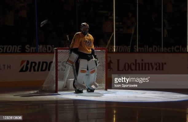 Nashville Predators goalie Pekka Rinne , of Finland, is shown prior to the start of the NHL game between the Nashville Predators and Carolina...