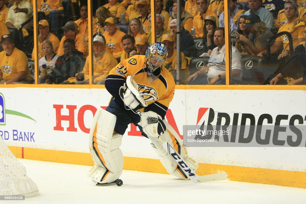 Nashville Predators goalie Pekka Rinne (35) plays the puck behind the goal during Game 6 of the Western Conference Final between the Nashville Predators and the Anaheim Ducks, held on May 22, 2017, at Bridgestone Arena in Nashville, Tennessee. Nashville defeated Anaheim 6-3 to advance to the Stanley Cup Finals.