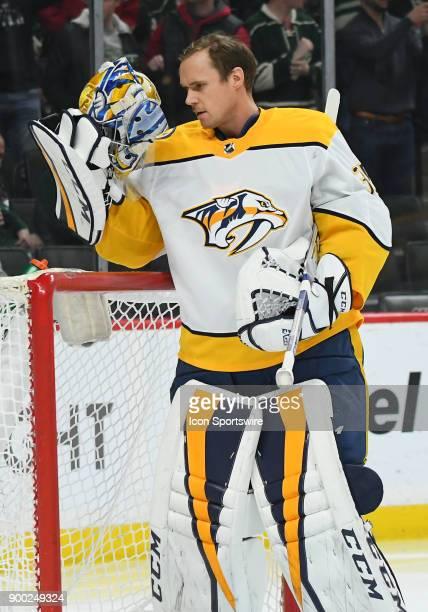 Nashville Predators Goalie Pekka Rinne puts his mask on during a NHL game between the Minnesota Wild and Nashville Predators on December 29 2017 at...