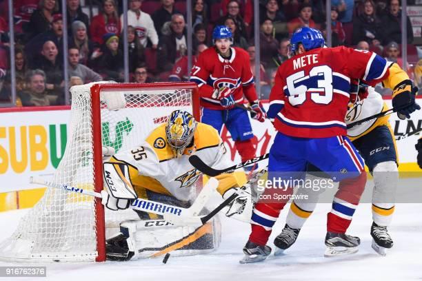Nashville Predators Goalie Pekka Rinne stops a shot from Montreal Canadiens Defenceman Victor Mete during the Nashville Predators versus the Montreal...