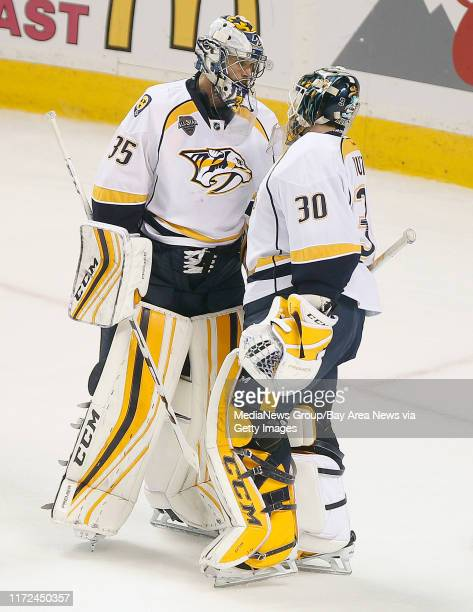 Nashville Predators goaltender Carter Hutton replaces starting netminder Pekka Rinne in the third period of Game 5 of the second round of the NHL...