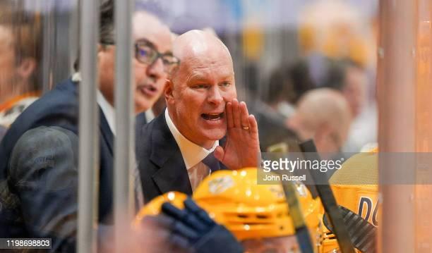 Nashville Predators head coach John Hynes coaches against the Boston Bruins at Bridgestone Arena on January 7 2020 in Nashville Tennessee