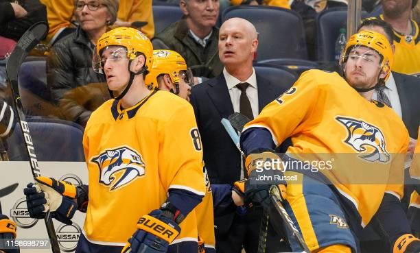 Nashville Predators head coach John Hynes watches the action against the Boston Bruins at Bridgestone Arena on January 7 2020 in Nashville Tennessee
