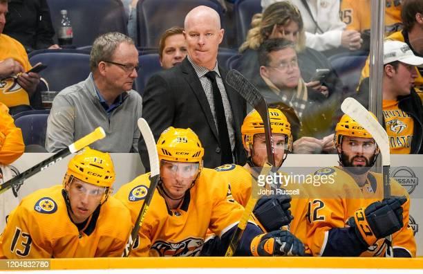 Nashville Predators head coach John Hynes watches the play against the Edmonton Oilers at Bridgestone Arena on March 2 2020 in Nashville Tennessee