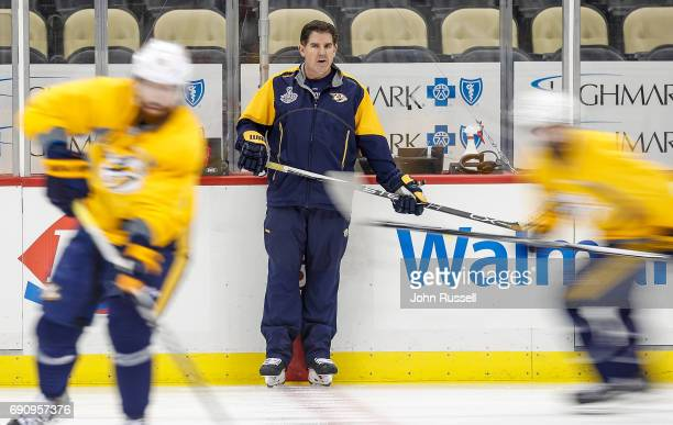Nashville Predators head coach Peter Laviolette watches his lines skate in practice prior to Game Two of the 2017 NHL Stanley Cup Final at PPG Paints...