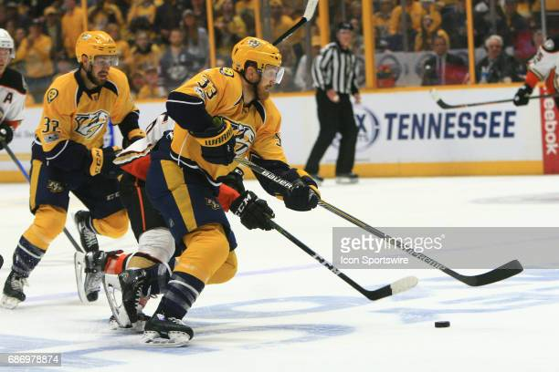 Nashville Predators left wing Colin Wilson skates with the puck during Game 6 of the Western Conference Final between the Nashville Predators and the...