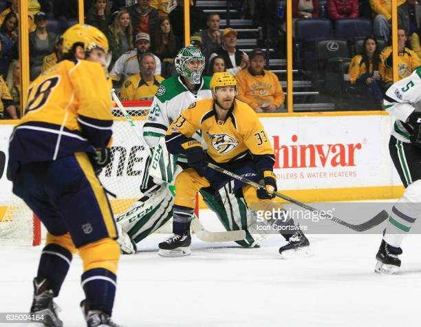 Nashville Predators left wing Colin Wilson takes up position in front of Dallas Stars goalie Kari Lehtonen during the NHL game between the Nashville...