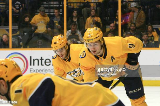 Nashville Predators left wing Filip Forsberg and Nashville Predators right wing Pontus Aberg both of Sweden are shown during the NHL game between the...