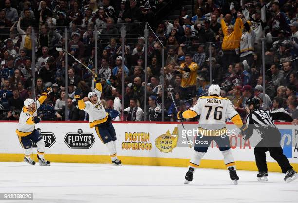 Nashville Predators left wing Filip Forsberg center celebrates his goal against the Colorado Avalanche goaltender Jonathan Bernier with teammates...