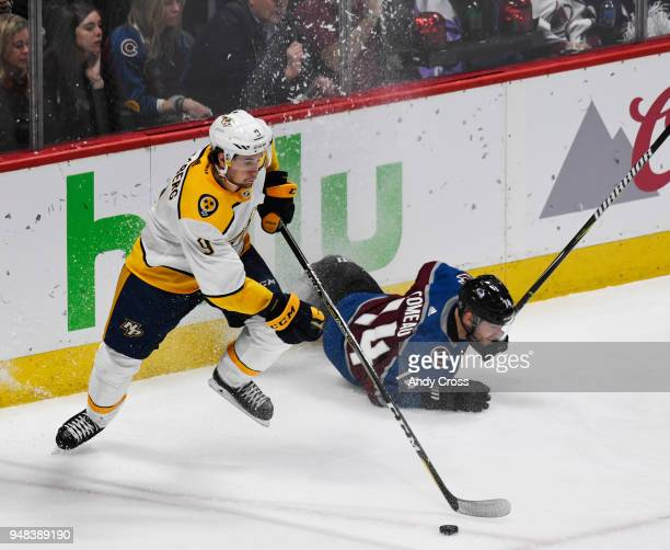 Nashville Predators left wing Filip Forsberg collects the puck against Colorado Avalanche center Carl Soderberg in the second period during the...