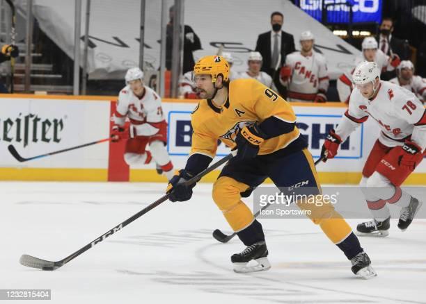 Nashville Predators left wing Filip Forsberg , of Sweden, skates with the puck during the NHL game between the Nashville Predators and Carolina...