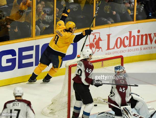 Nashville Predators left wing Filip Forsberg scores a goal against Colorado Avalanche goaltender Jonathan Bernier in the third period during the...