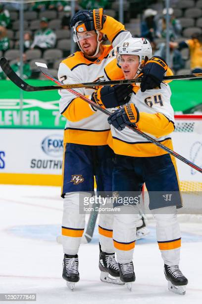 Nashville Predators Left Wing Mikael Granlund celebrates his goal during the game between the Nashville Predators and Dallas Stars on January 24,...