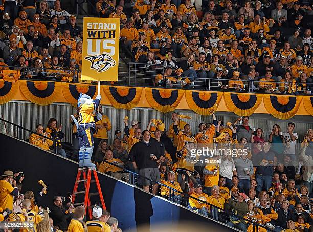 Nashville Predators mascot Gnash revs up the fans during Game Four of the Western Conference Second Round against the San Jose Sharks during the 2016...
