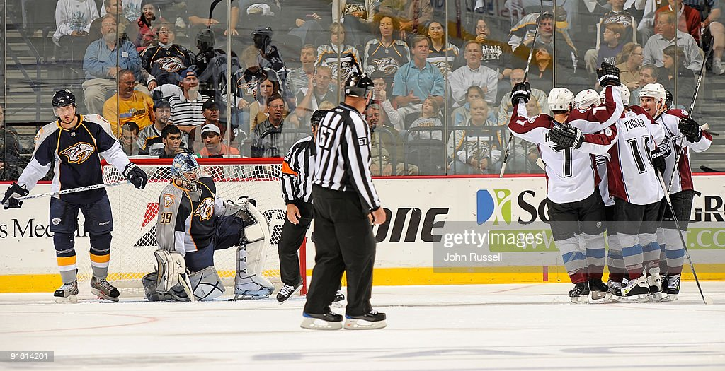 Nashville Predators players look dejected after a goal is scored by the Colorado Avalanche on October 8, 2009 at the Sommet Center in Nashville, Tennessee.