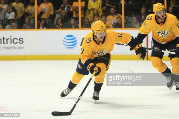Nashville Predators right wing Eeli Tolvanen is shown during the NHL game between the Nashville Predators and Buffalo Sabres held on March 31 at...