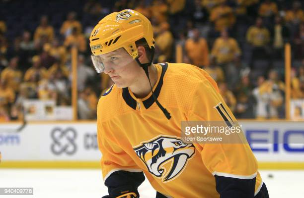 Nashville Predators right wing Eeli Tolvanen is shown prior to the NHL game between the Nashville Predators and Buffalo Sabres held on March 31 at...