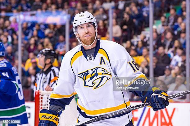 Nashville Predators Right Wing James Neal looks to the stands during their NHL game against the Vancouver Canucks at Rogers Arena on January 17 2017...