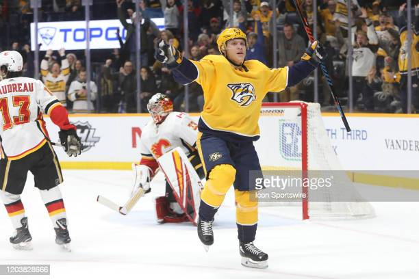Nashville Predators right wing Mikael Granlund celebrates his overtime gamewinning goal at the conclusion of the NHL game between the Nashville...