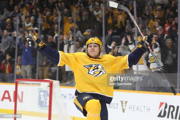Nashville Predators right wing Mikael Granlund celebrates his gamewinning overtime goal at the conclusion of the NHL game between the Nashville...