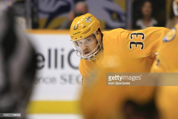 Nashville Predators right wing Viktor Arvidsson is shown wearing a face shield during the NHL game between the Nashville Predators and the Minnesota...