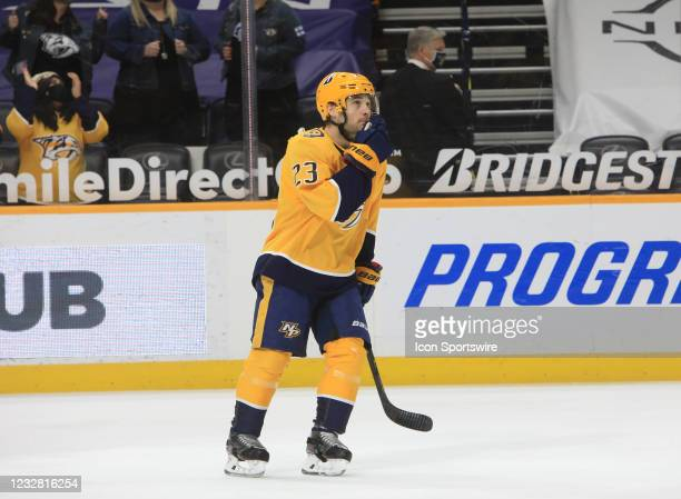 Nashville Predators winger Rocco Grimaldi is shown following his first period goal during the NHL game between the Nashville Predators and Carolina...