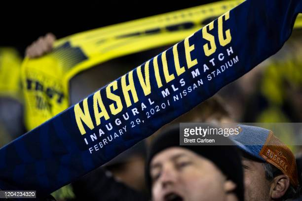 Nashville SC fans cheer before the game against Atlanta United at Nissan Stadium on February 29 2020 in Nashville Tennessee