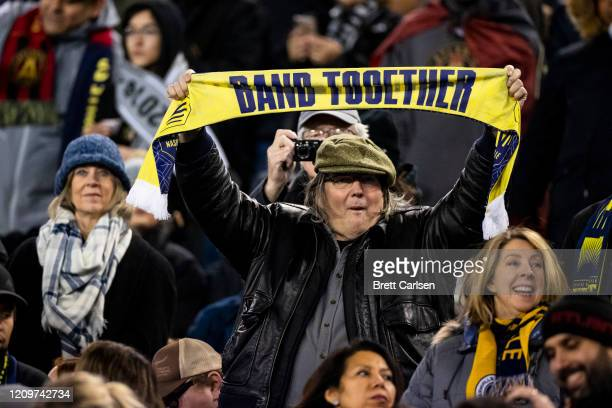Nashville SC fans cheer before the match against the Atlanta United at Nissan Stadium on February 29 2020 in Nashville Tennessee