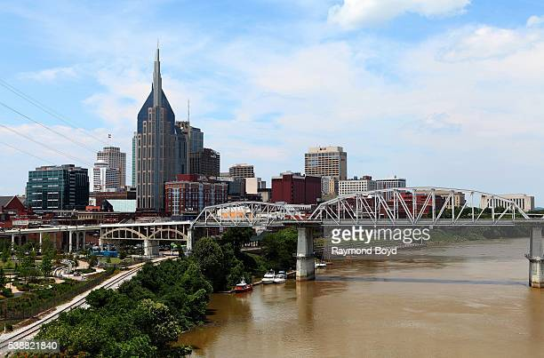 Nashville skyline and Shelby Street Bridge as photographed from the Korean War Veterans Memorial Bridge in Nashville Tennessee on May 27 2016